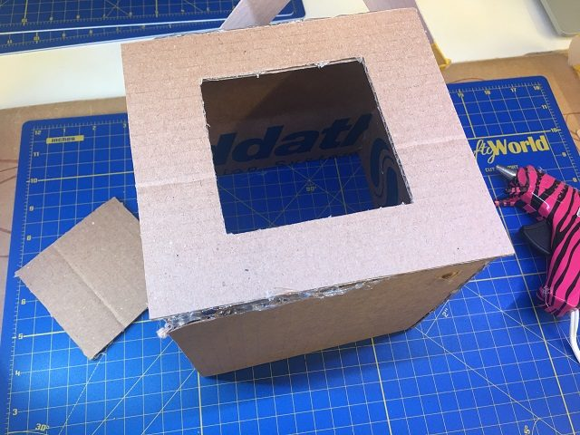 The base glued to the box