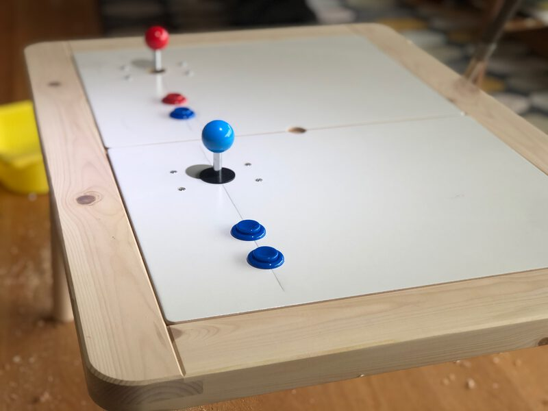 A table with buttons