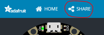 Share button at top of window