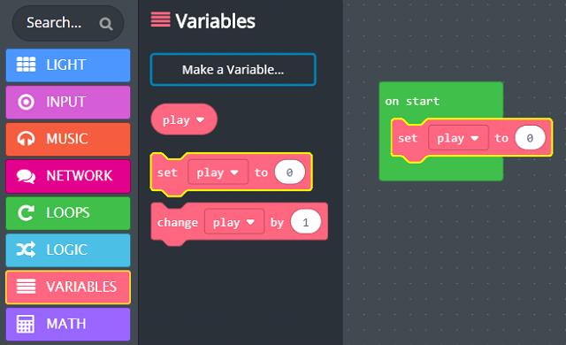 'set' variable block