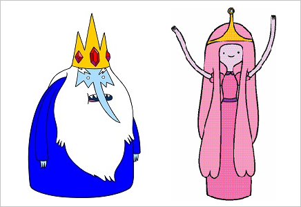 Ice King and Princess Bubblegum with crowns