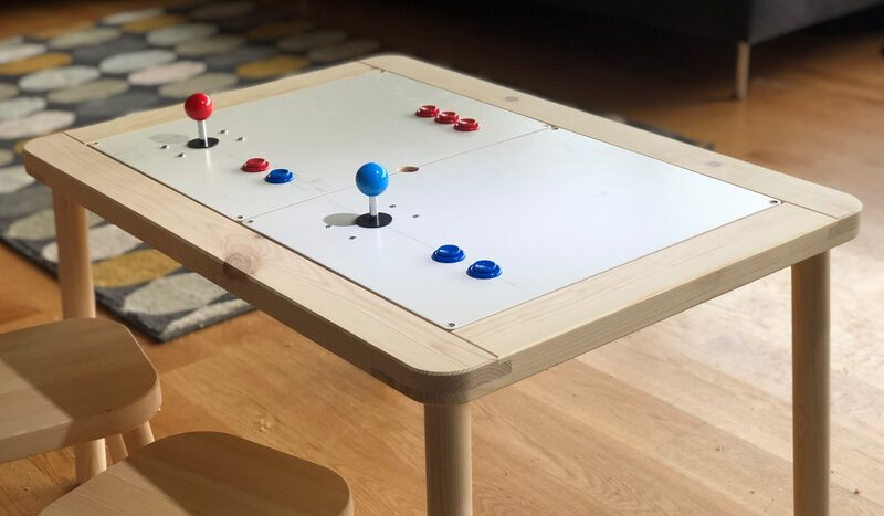 An IKEA FLISAT table turned into an arcade