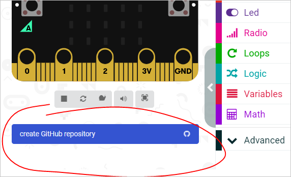 A 'create Github repository' button