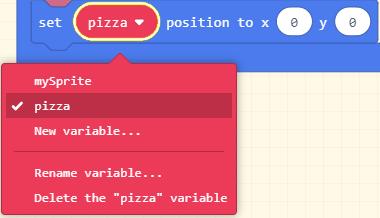 Change mySprite to pizza
