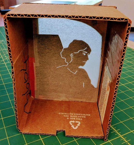 Virginia Woolfe, view inside light box