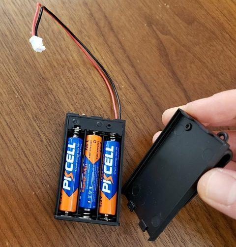 3 batteries placed inside battery holder