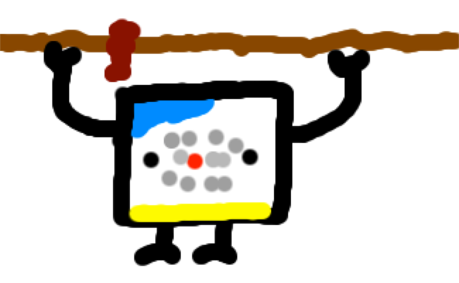 A micro:bit holding a rope