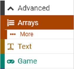 Arrays block menu
