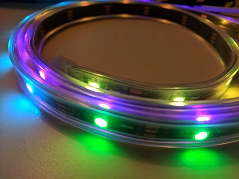 Lighted NeoPixel strip in a coil