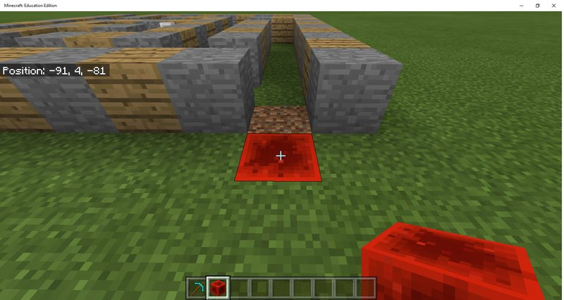 Place redstone block at ending location