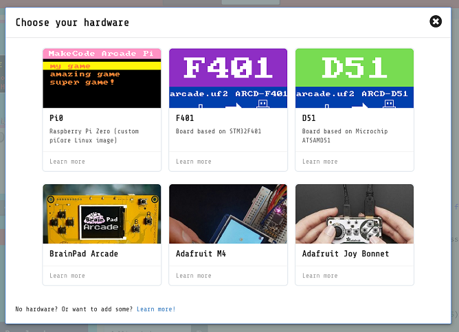 MakeCode Arcade hardware