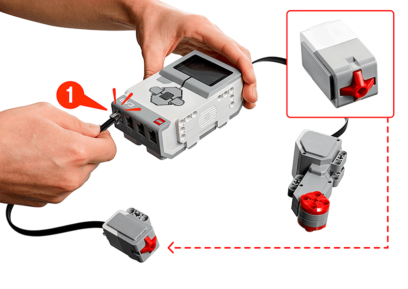 Hands connecting Touch Sensor to Port 1 on EV3 Brick