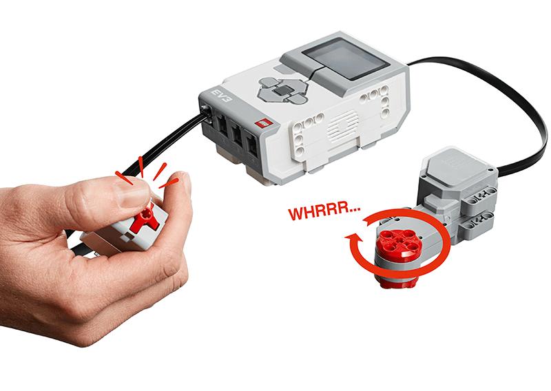 Hand Touch Sensor Pressed & EV3 Brick & Large Motor