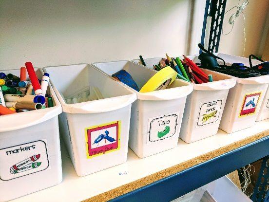 Storage bins for school supplies