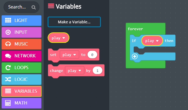 'play' variable placed into 'if then'