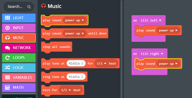 'play sound' blocks inserted into the 'on tilt` blocks