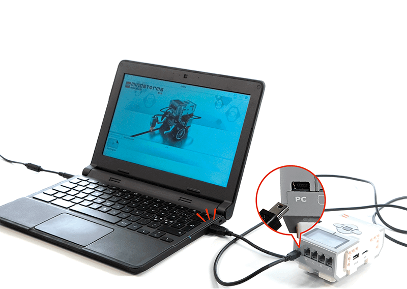 Computer and cable connected to EV3 Brick