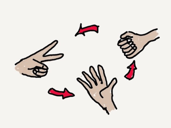 Rock-paper-scissors hands
