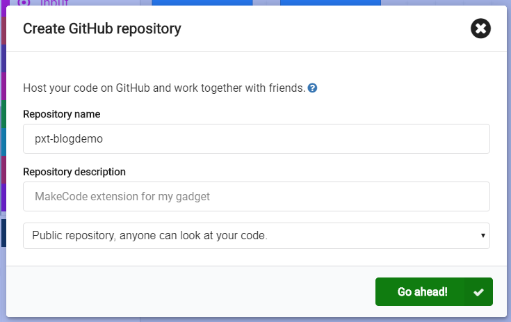 A dialog to configure a GitHub repository