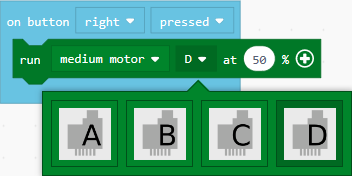 Select a motor port dropdown