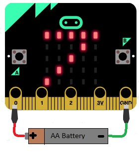 Connect a the test battery to the micro:bit