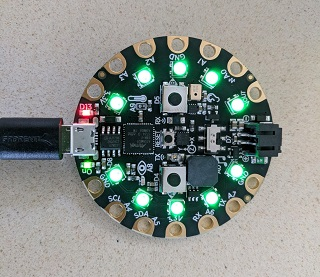 The board reset with LEDs flashing