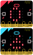 Two micro:bit showing 0 and 6