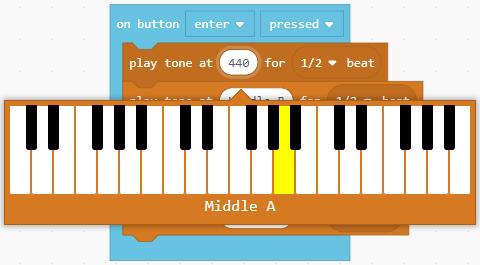 Tone selector keyboard