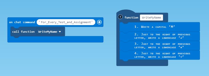 WriteMyName Pseudocode Example