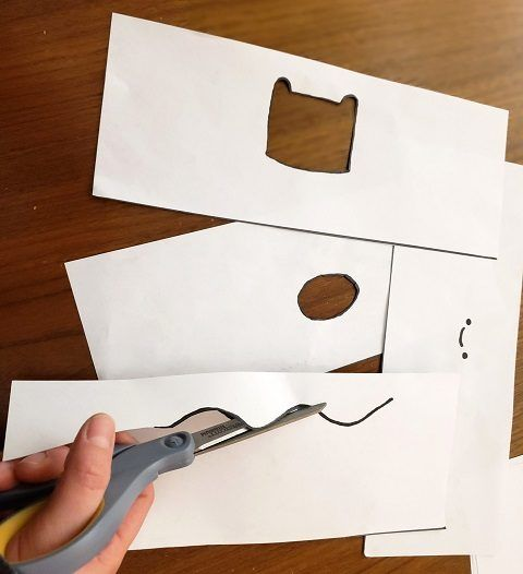 Cutting the shapes out of the paper