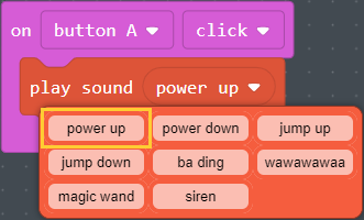 The preset sounds for the Play Sound block
