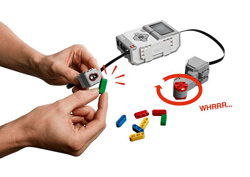 IMG: Colored bricks in front of Color Sensor, hands, EV3 Brick