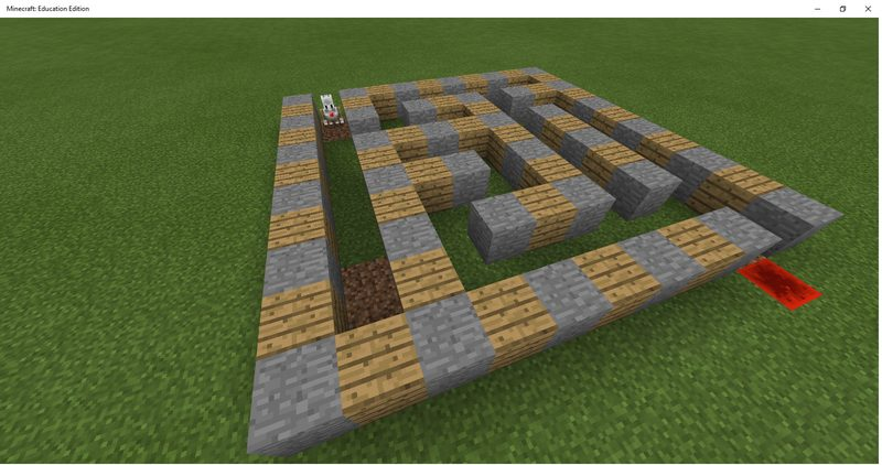 Stone maze with redstone at the end