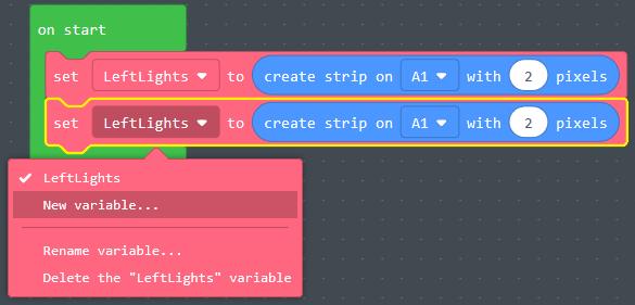 Select new variable in block menu