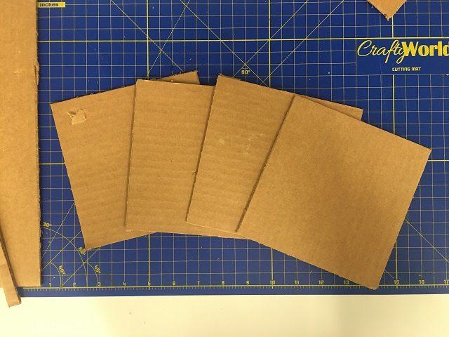 Cutting the cardboard sides