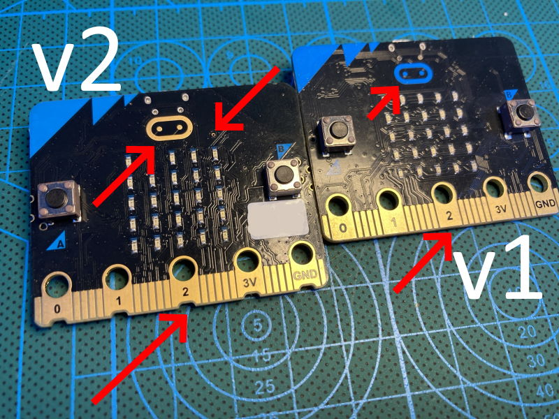 micro:bit v1 and micro:bit V2 front side by side