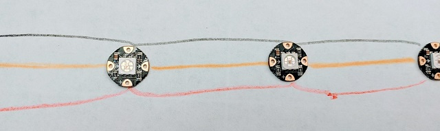 Be sure the arrows on the NeoPixels point away from the Circuit Playground Express