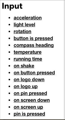 micro:bit input list