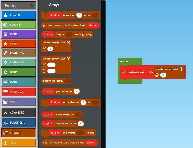 Pick the create array block