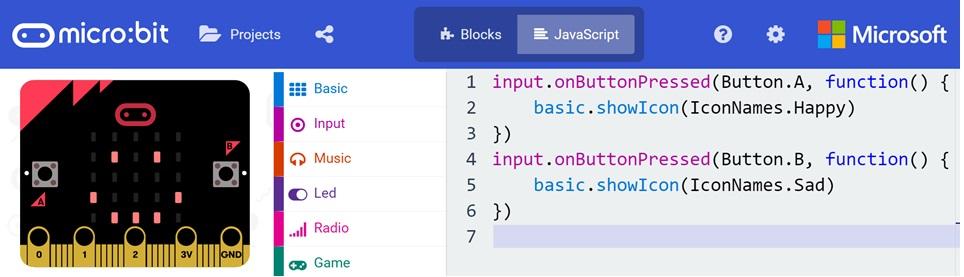 MakeCode JavaScript editor