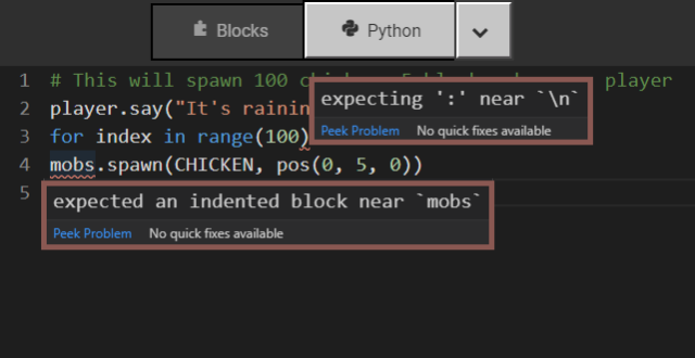 Error tips in the editior