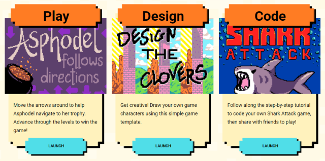 Play, Design, Code buttons