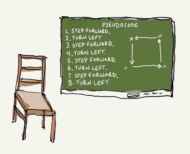 Chair with Pseudocode on the board.