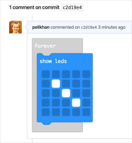 A rendered blocks diff attached to a commit