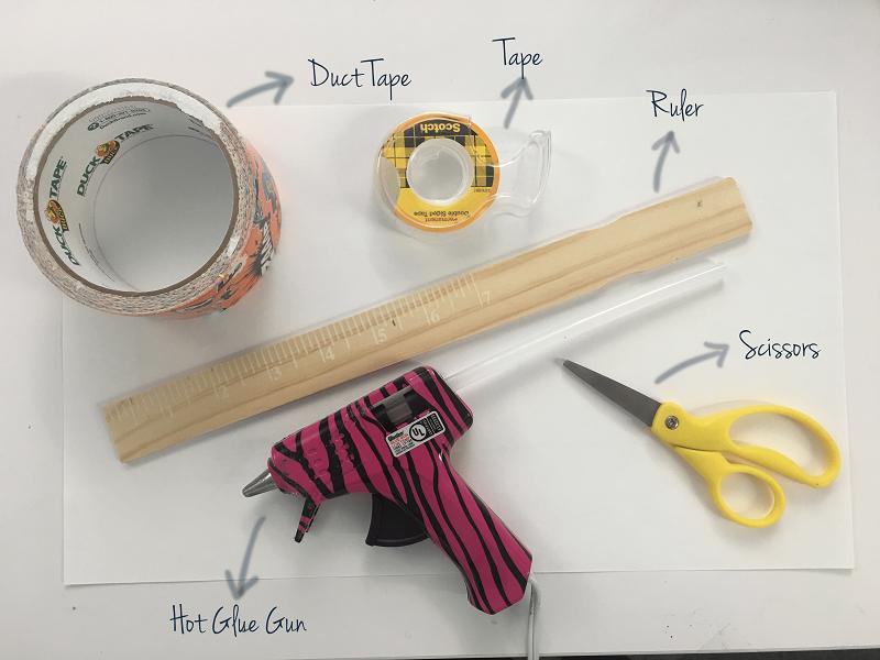 Tools: scissors, duct tape, ruler, tape, hot glue gun