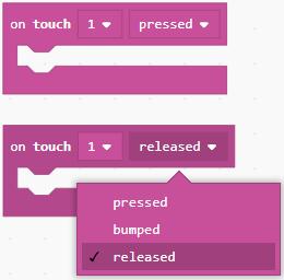 Touch sensor action dropdown