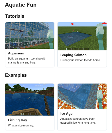 New aquatic tutorials and examples page