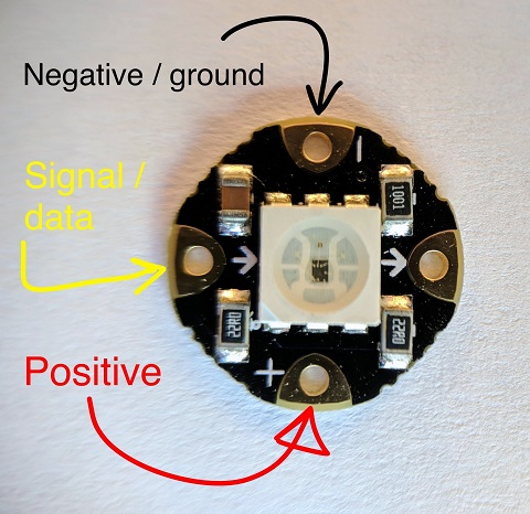 Positive, Negative and the Signal/Data connectors on the Flora NeoPixel