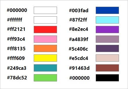 Default color chart