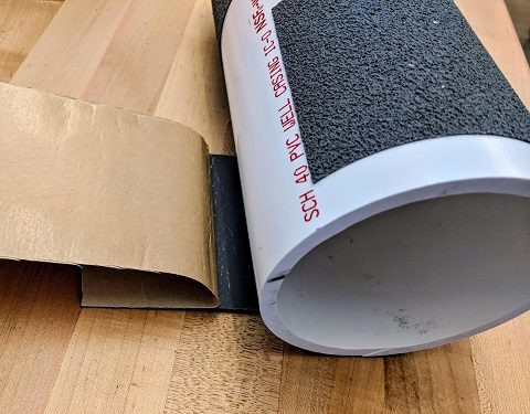 Grip tape applied to PVC pipe